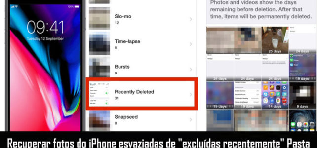 "3 maneiras de recuperar fotos do iPhone esvaziadas de ""excluídas recentemente"" Pasta"